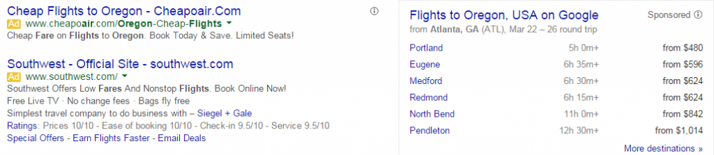 Image of the nice features , like price comparisons of flighes, Google can offer based on the information it collects.