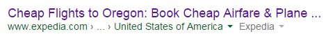 """The link in Google search results you think you click on says """"EXPEDIA"""""""
