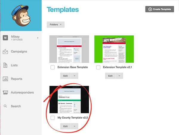 choose edit on a template