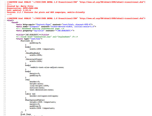 HTML code for template.