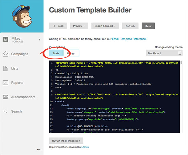 Open the Custom Template Builder