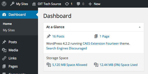 "A screenshot of the WordPress dashboard. Choose ""New +"" in the top black stripe to make a new post."