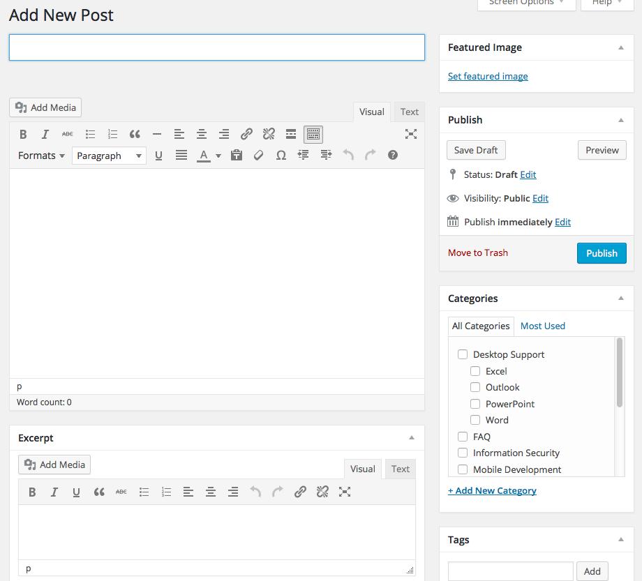 Figure 3. A blank post in WordPress.