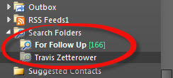 Newly created Search Folder for all emails from Travis Zetterower