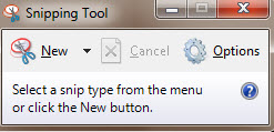 Snipping Tool Start Window