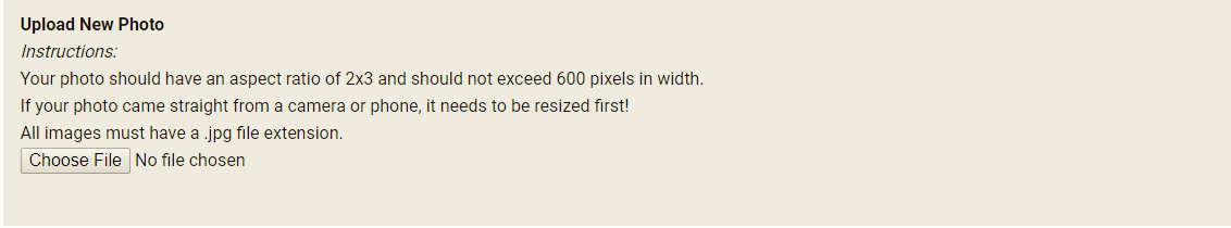 Upload new photo screen