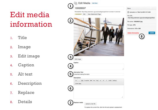 Edit media information in WordPress