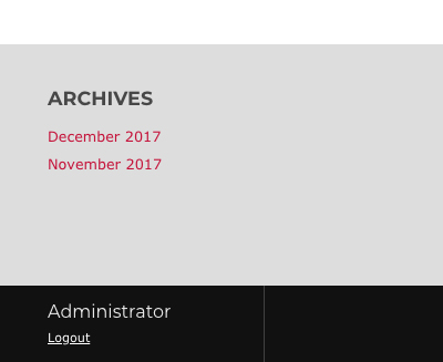 Administrator log in, located in the bottom left of theme.