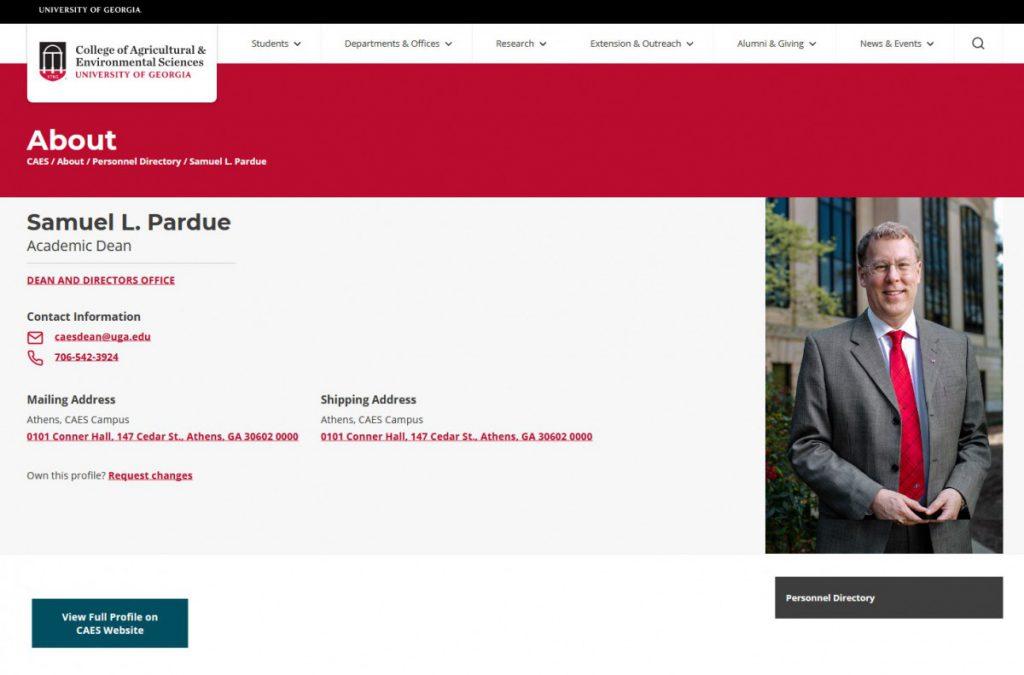 Personnel Directory basic profile page for Samuel L. Pardue