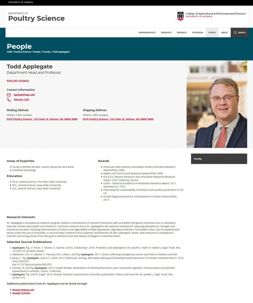Example of a full profile page for Todd Applegate at the Department of Poultry Science website.