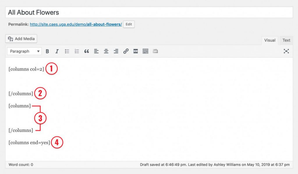 Screenshot of editing a post with column shortcode outlined