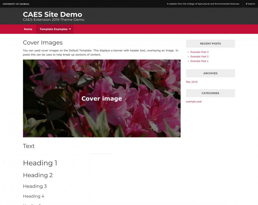 Screenshot of page with a sidebar using a cover image