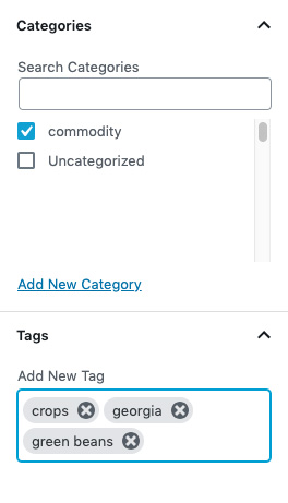 Add categories and tags.