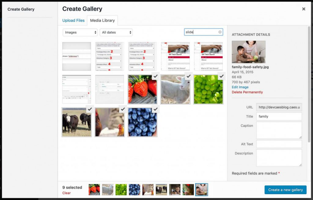 Create Gallery screen, with some images selected
