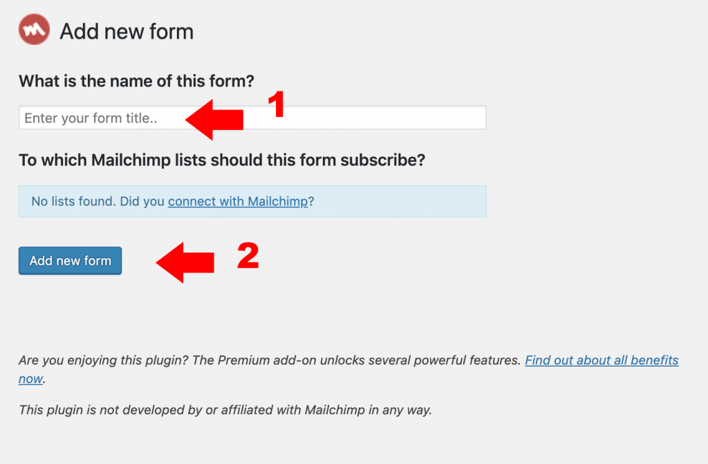 New Form for Mailchimp