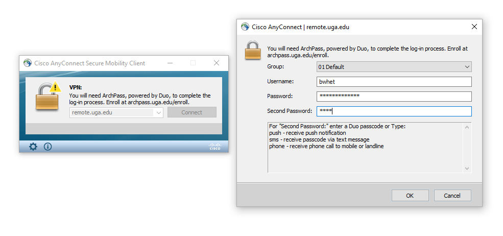 Image showing the login screen for the Cisco AnyConnect VPN, including a separate screen that collects username, password, and method of Duo authentication.
