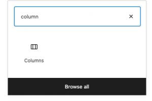 Screenshot of block item: columns.