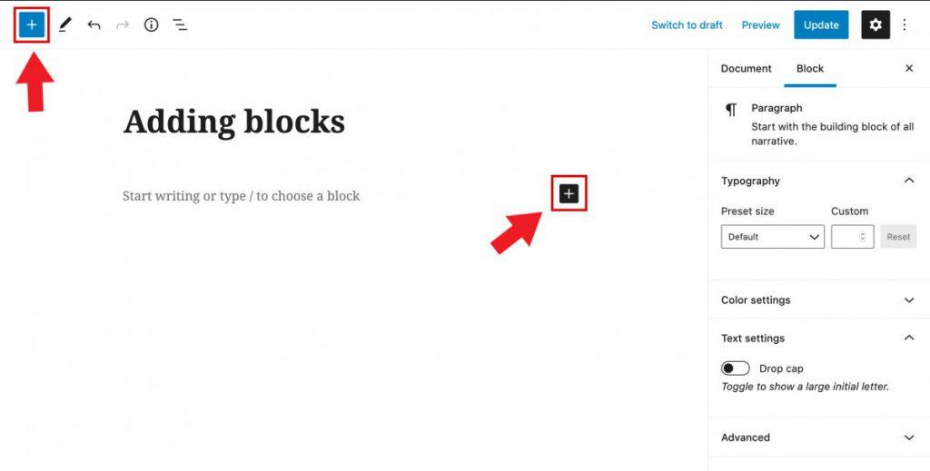 Add block buttons in WordPress editor