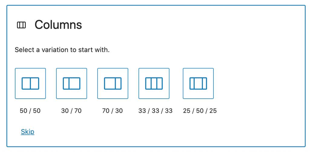 Columns block options