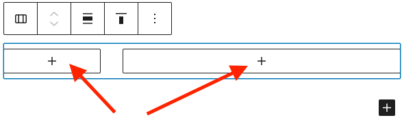 Screenshot of Column block with toolbar on top.