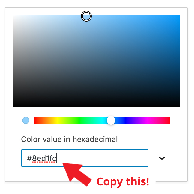 Color picker in WordPress editor. Arrow points to hexadecimal value.