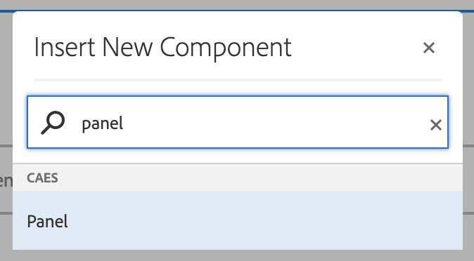 Insert New Component dialog with Panel option highlighted