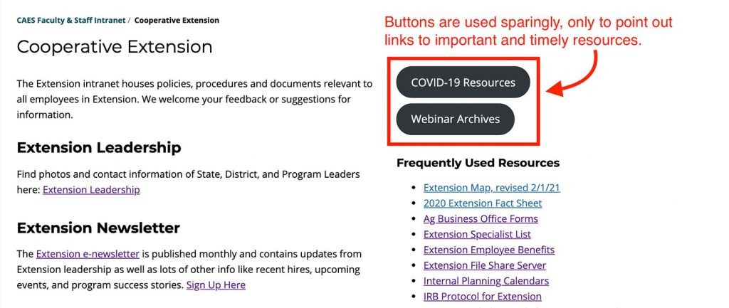 Example of using buttons to effectively highlight links to timely resources.