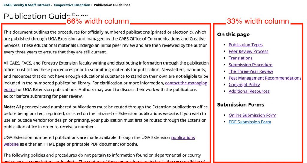 Example of content arranged with a columns block, using two columns at 66% and 33% widths.