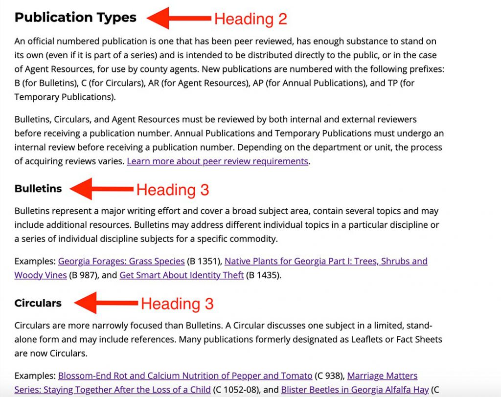 Example of using headings on the Intranet template.
