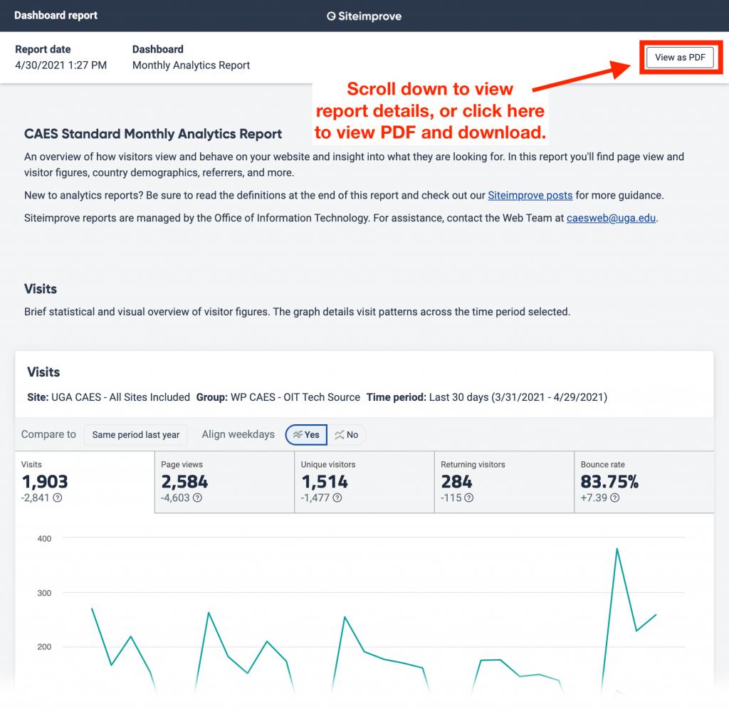 New Siteimprove dashboard report.